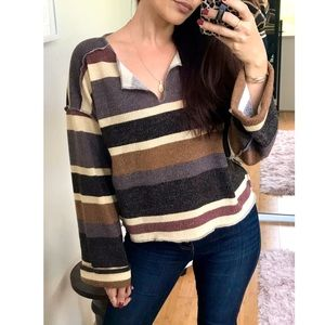 Sweaters - Claudia Slouchy Striped Cuffed Sleeve Sweater